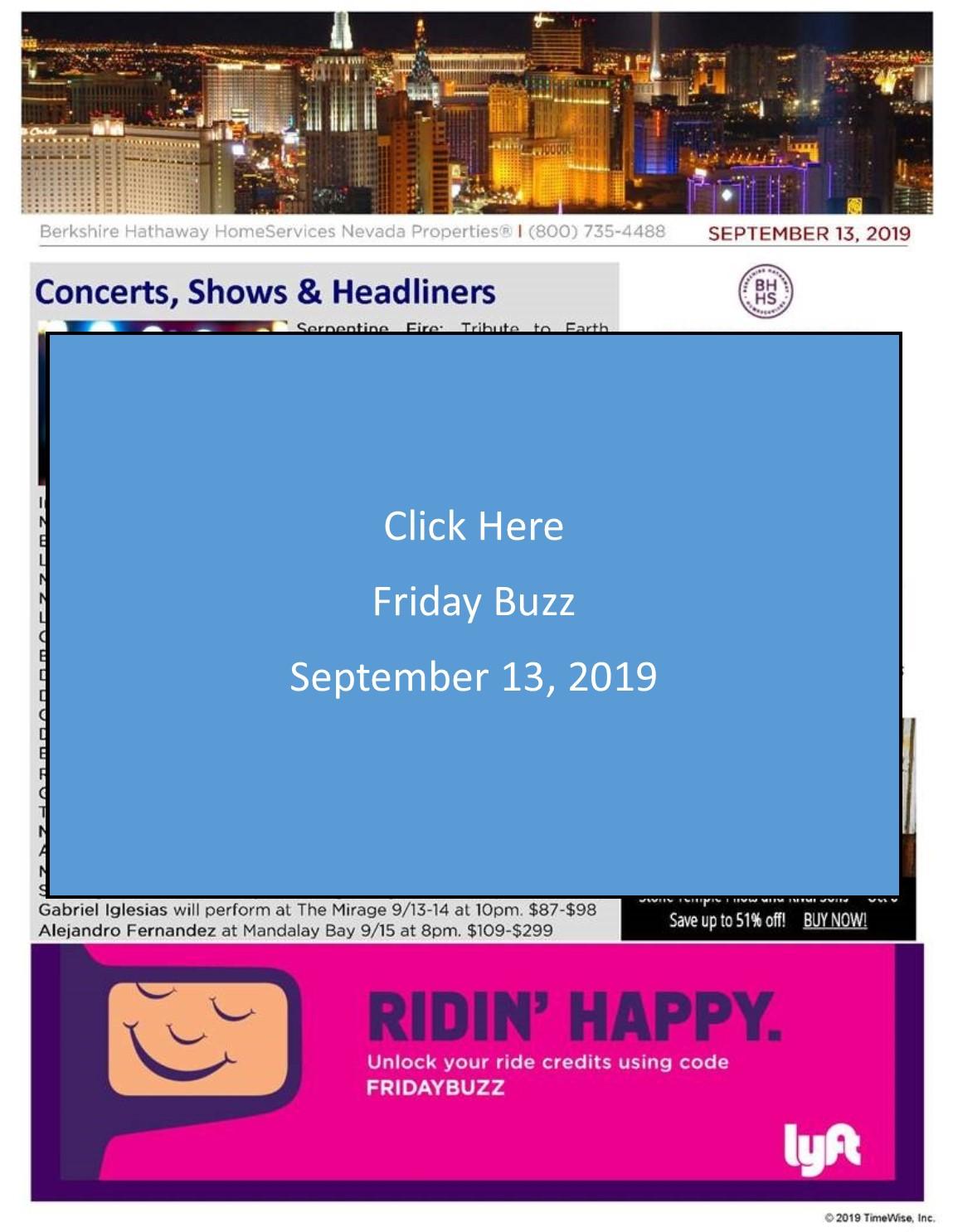 The Friday Buzz for September 13 2019 - LasVegasRealEstate.com